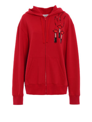 Valentino: Sweatshirts & Sweaters - Embroidered cotton hoodie