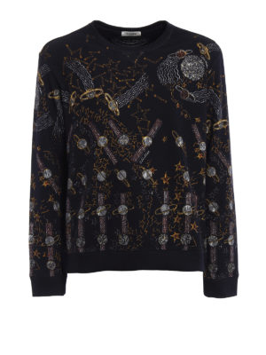 Valentino: Sweatshirts & Sweaters - Lunar Punk print sweatshirt