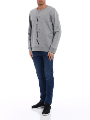 Valentino: Sweatshirts & Sweaters online - VLTN jersey grey sweatshirt