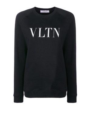 VALENTINO: Felpe e maglie - Felpa girocollo in cotone nero con logo VLTN