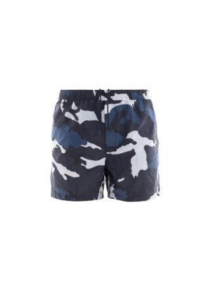 VALENTINO: Costumi piscina e boxer - Boxer da mare in nylon camouflage blu