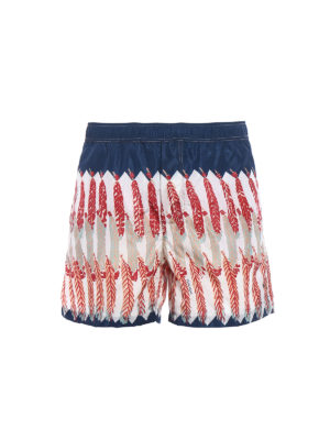 Valentino: Swim shorts & swimming trunks - Feather print blue swim shorts