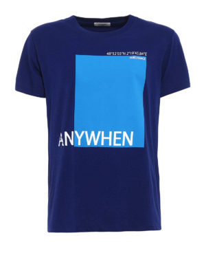 VALENTINO: t-shirt - T-shirt blu con stampa Anywhen