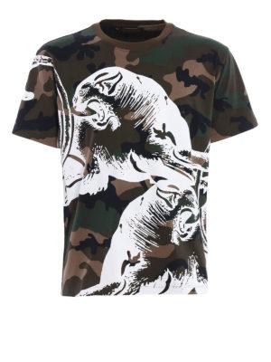 Valentino: t-shirts - Camu Panther print T-shirt