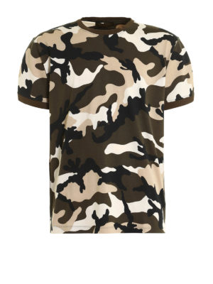 Valentino: t-shirts - Camu Unfinished print T-shirt