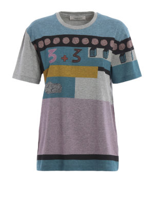 Valentino: t-shirts - Colour block cotton T-shirt
