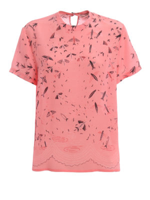 Valentino: t-shirts - Exclusive print silk T-shirt