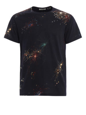 Valentino: t-shirts - Fireworks print cotton T-shirt
