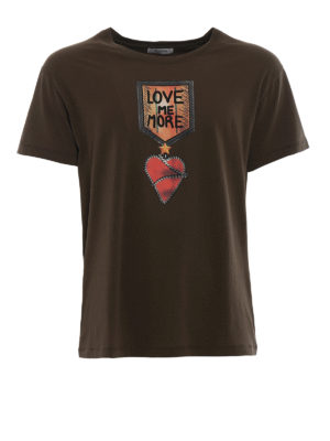 Valentino: t-shirts - Love Me More print jersey T-shirt