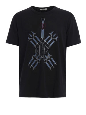 Valentino: t-shirts - Loveblade print cotton T-shirt