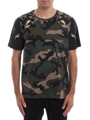 Valentino: t-shirts online - Camu T-shirt with panther detail