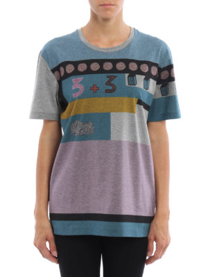 Valentino: t-shirts online - Colour block cotton T-shirt