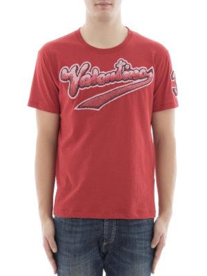 Valentino: t-shirts online - Logo print red t-shirt