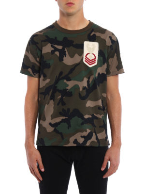 Valentino: t-shirts online - Military patches Camouflage T-shirt
