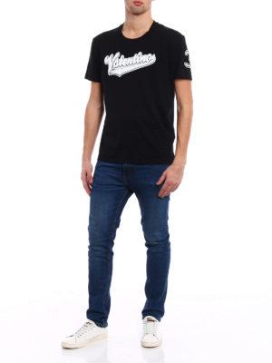 Valentino: t-shirts online - Terrycloth logo patch T-shirt