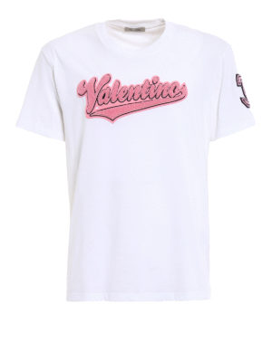 Valentino: t-shirts - Pink logo patch white Tee