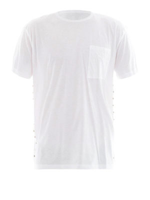 Valentino: t-shirts - Rockstud white cotton Tee