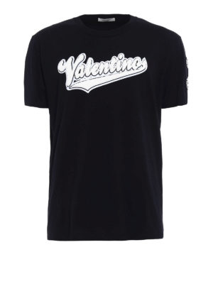 Valentino: t-shirts - Terrycloth logo patch T-shirt