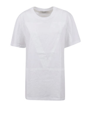 VALENTINO: t-shirts - VLogo print cotton jersey T-shirt