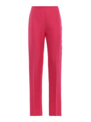 VALENTINO: Pantaloni sartoriali - Pantaloni a sigaretta in seta e lana fucsia