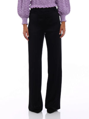 Valentino: Tailored & Formal trousers online - Textured satin wide leg trousers