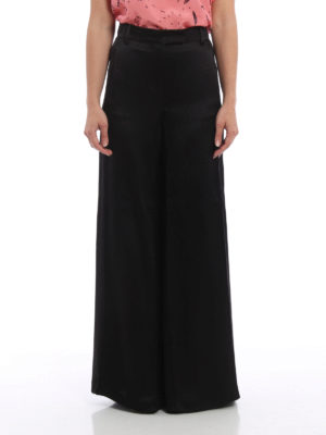 Valentino: Tailored & Formal trousers online - Textured silk palazzo trousers