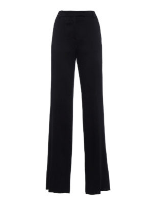 Valentino: Tailored & Formal trousers - Textured satin wide leg trousers