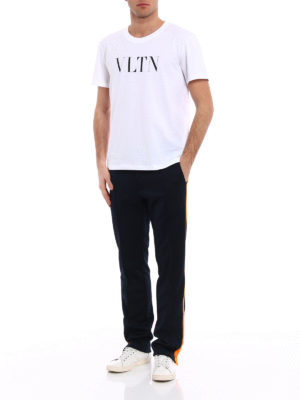 Valentino: tracksuit bottoms online - Side band cotton blend track pants