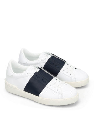 Valentino: trainers online - Open leather sneakers