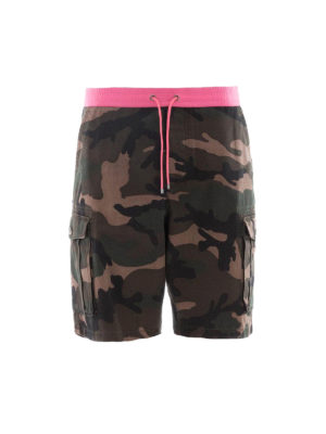 Valentino: Trousers Shorts - Camouflage cargo short pants