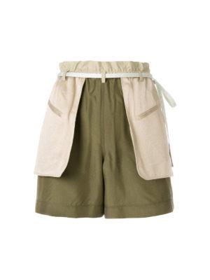 VALENTINO: pantaloni shorts - Shorts verdi in seta shappe e satin