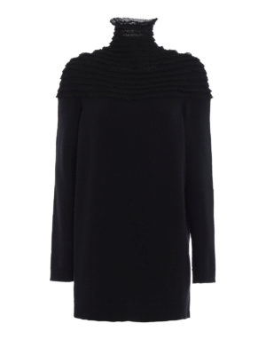 Valentino: Turtlenecks & Polo necks - Lace inserts long knitted pullover