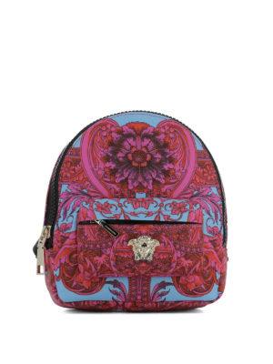 Versace: backpacks - Baroque print nylon small backpack