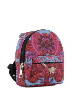 Versace: backpacks online - Baroque print nylon small backpack