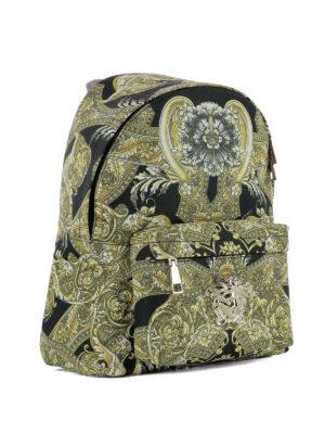 Versace: backpacks online - Baroque printed nylon backpack