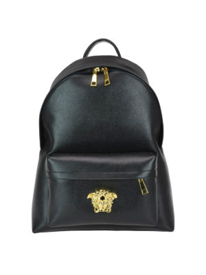 a23be253c4 VERSACE  zaini - Zaino Palazzo nero in pelle saffiano. New season. Versace.  Palazzo black saffiano leather backpack