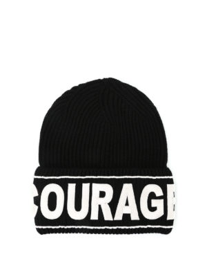 Versace: beanies - Courage knitted wool beanie