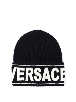Versace: beanies - Versace knitted wool beanie