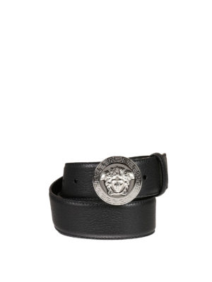 Versace: belts - Medusa and Greek fret leather belt