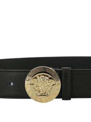 Versace: belts online - Hammered leather belt