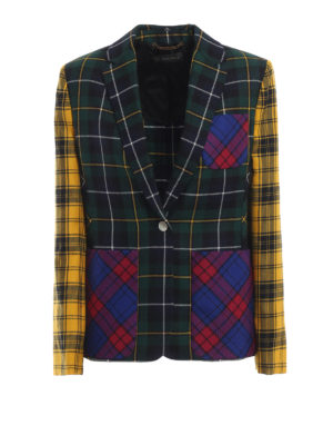 VERSACE: giacche blazer - Blazer patchwork in lana a quadri