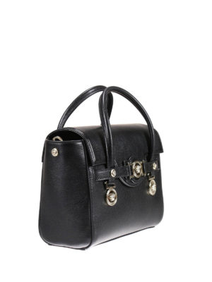 Versace: bowling bags online - Signature grain leather bowling bag