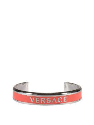 Versace: Bracelets & Bangles - Enamelled logo stiff bracelet