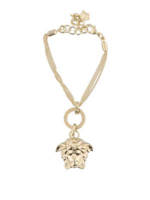 VERSACE: Bracciali e Braccialetti - Bracciale dorato con pendente Testa di Medusa