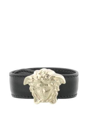Versace: Bracelets & Bangles - Medusa Head leather bracelet