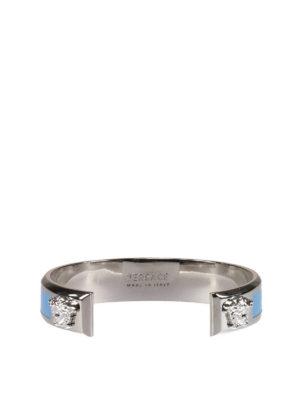 Versace: Bracelets & Bangles online - Enamelled logo stiff bracelet