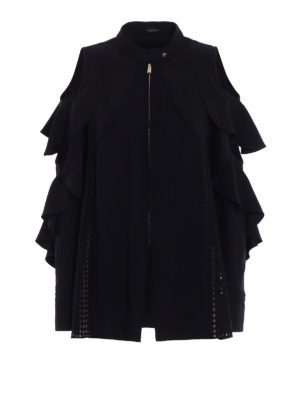 Versace: casual jackets - Flounced crepe jacket with cut-out