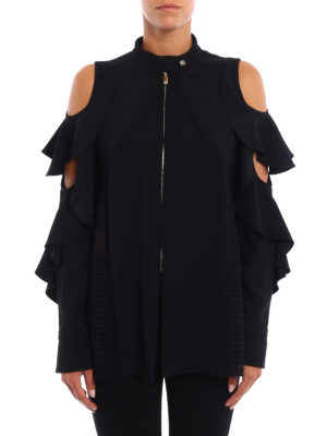 Versace: casual jackets online - Flounced crepe jacket with cut-out
