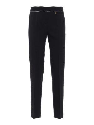 VERSACE: pantaloni casual - Pantaloni in lana con bande Chiave Greca