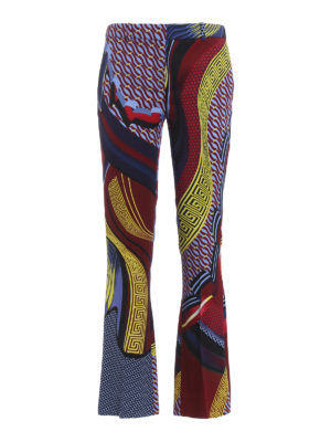 Versace: casual trousers - Greek fret print flared trousers